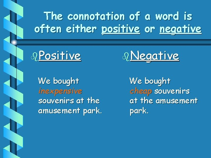 The connotation of often either positive b. Positive We bought inexpensive souvenirs at the