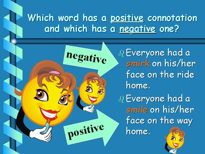 Which word has a positive connotation and which has a negative one? negativ e