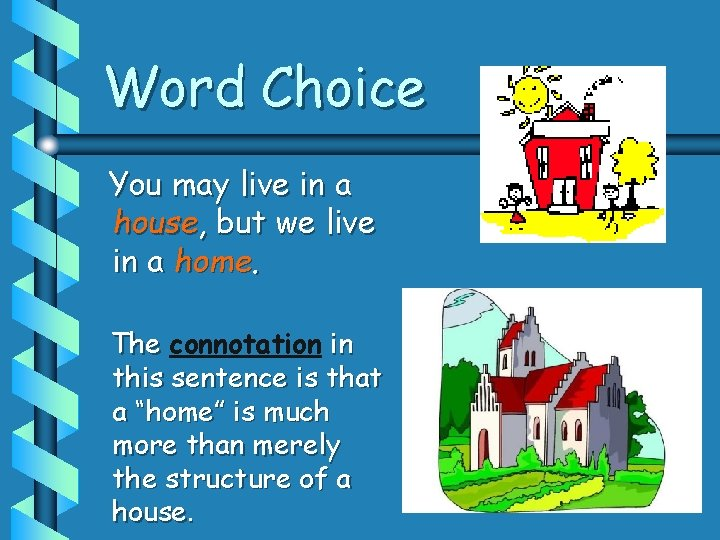 Word Choice You may live in a house, but we live in a home.