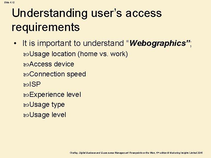 "Slide 4. 12 Understanding user's access requirements • It is important to understand ""Webographics"";"