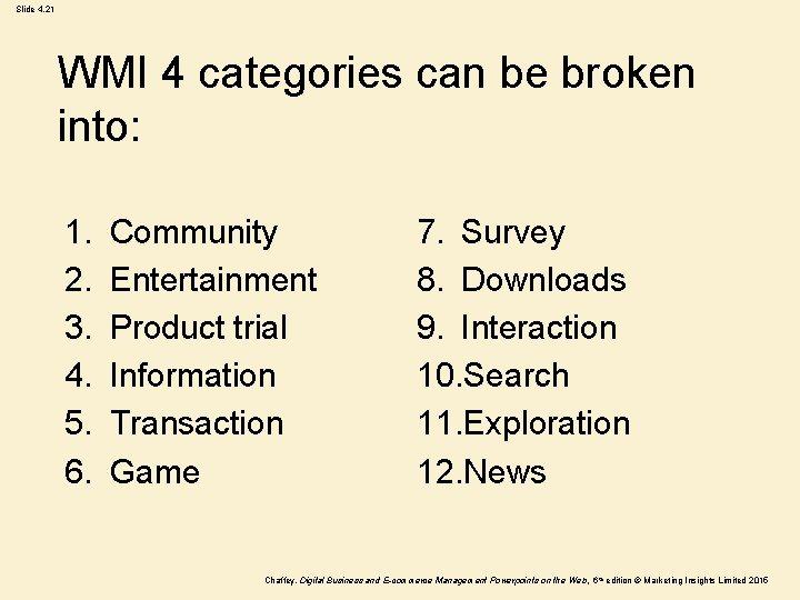 Slide 4. 21 WMI 4 categories can be broken into: 1. 2. 3. 4.