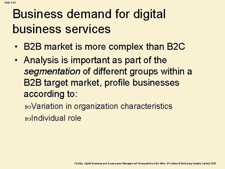 Slide 4. 24 Business demand for digital business services • B 2 B market