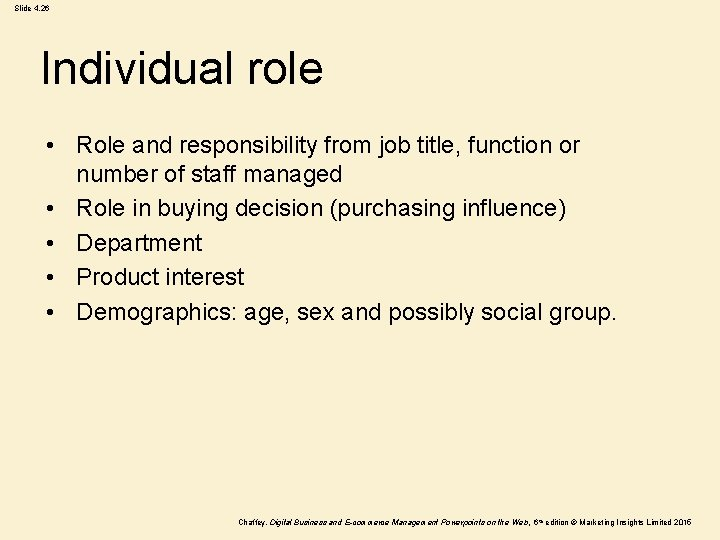 Slide 4. 26 Individual role • Role and responsibility from job title, function or