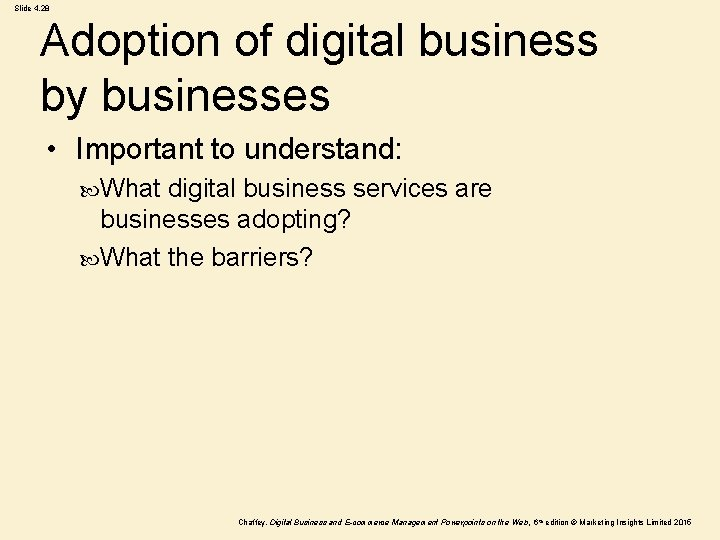 Slide 4. 28 Adoption of digital business by businesses • Important to understand: What