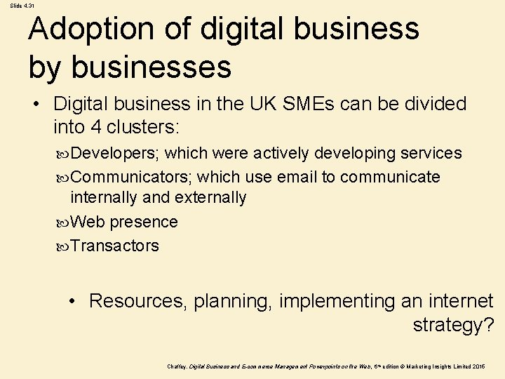 Slide 4. 31 Adoption of digital business by businesses • Digital business in the