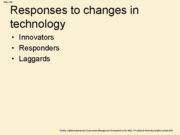 Slide 4. 62 Responses to changes in technology • Innovators • Responders • Laggards