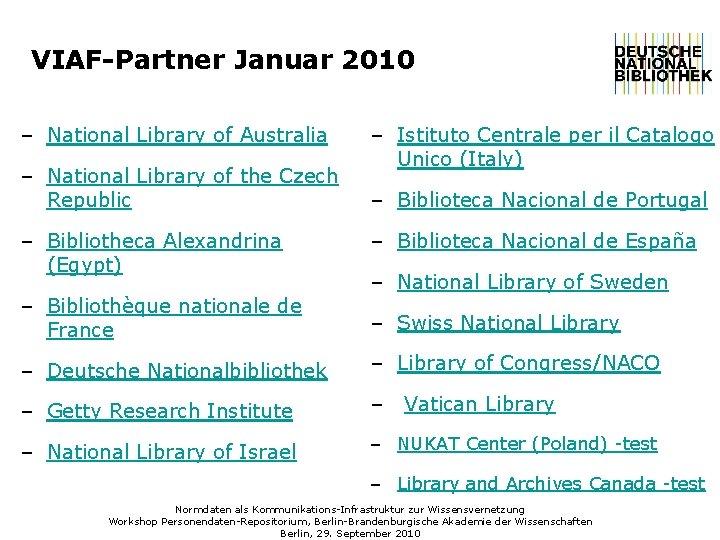 VIAF-Partner Januar 2010 – National Library of Australia – National Library of the Czech