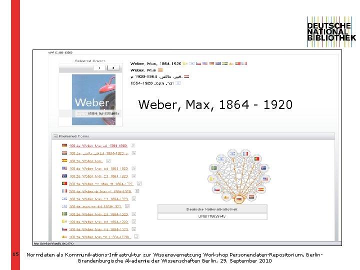 VIAF http: //viaf. org/viaf/100180950 Weber, Max, 1864 - 1920 15 Normdaten als Kommunikations-Infrastruktur zur