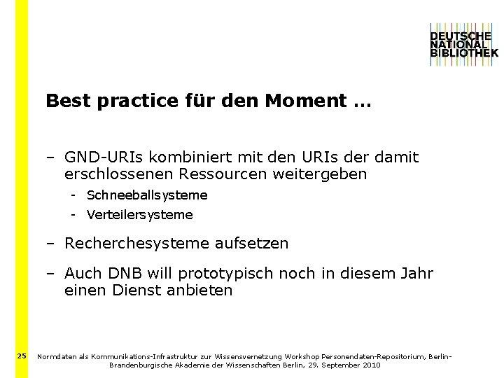 Best practice für den Moment … – GND-URIs kombiniert mit den URIs der damit