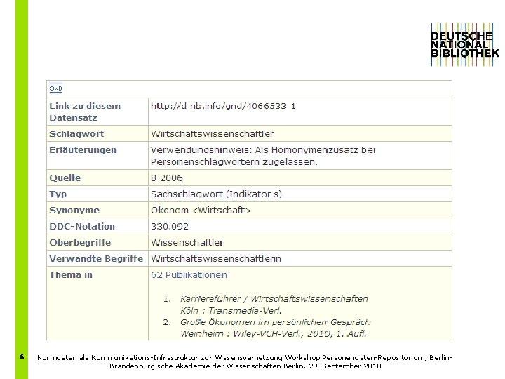6 Normdaten als Kommunikations-Infrastruktur zur Wissensvernetzung Workshop Personendaten-Repositorium, Berlin. Brandenburgische Akademie der Wissenschaften Berlin,