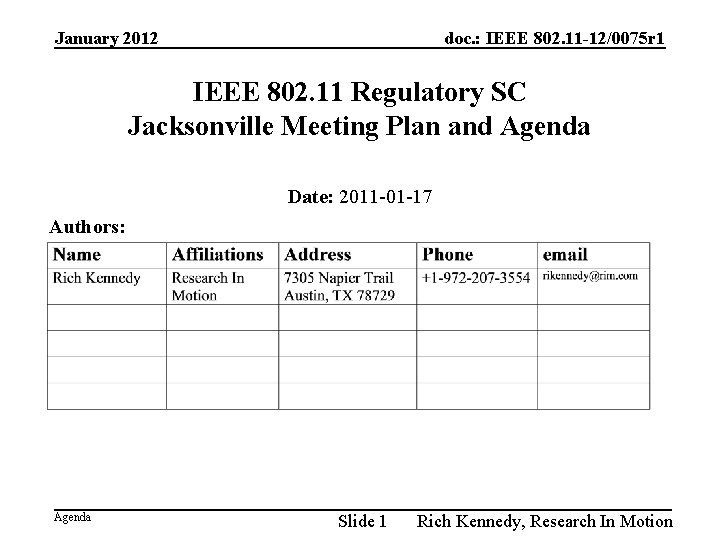 January 2012 doc. : IEEE 802. 11 -12/0075 r 1 IEEE 802. 11 Regulatory