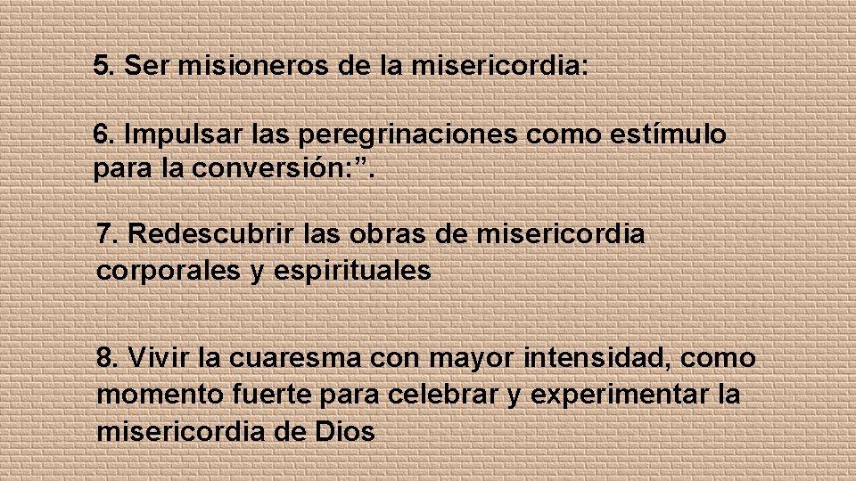 5. Ser misioneros de la misericordia: 6. Impulsar las peregrinaciones como estímulo para la