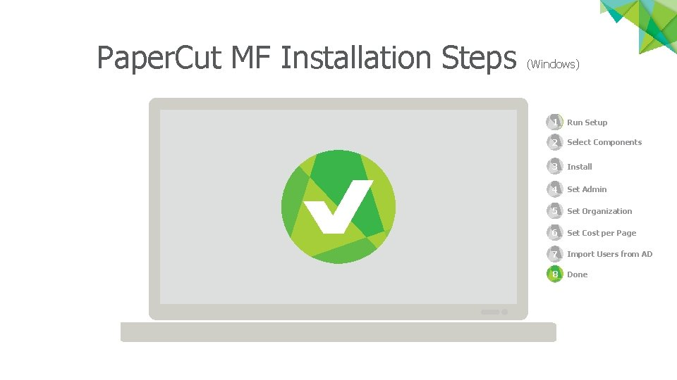 Paper. Cut MF Installation Steps (Windows) 1 Run Setup 2 1 Select Components 3