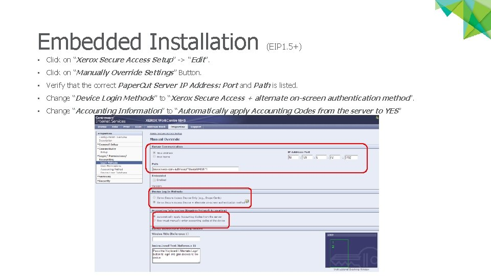 """Embedded Installation (EIP 1. 5+) • Click on """"Xerox Secure Access Setup"""" -> """"Edit""""."""