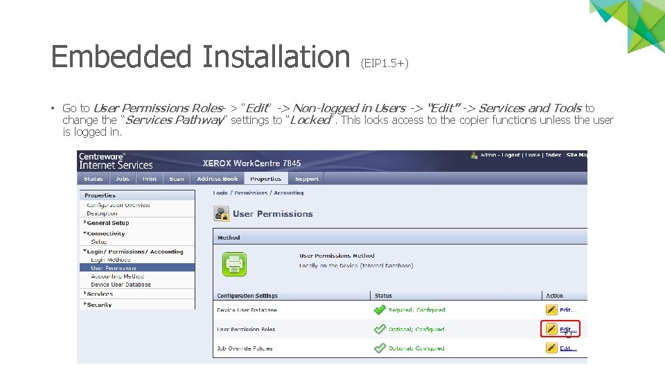 """Embedded Installation (EIP 1. 5+) • Go to User Permissions Roles- > """"Edit"""" ->"""