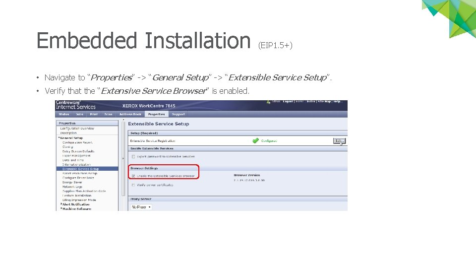 """Embedded Installation (EIP 1. 5+) • Navigate to """"Properties"""" -> """"General Setup"""" -> """"Extensible"""