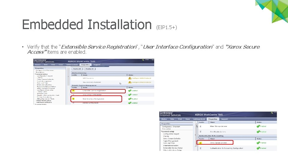 """Embedded Installation (EIP 1. 5+) • Verify that the """"Extensible Service Registration"""", """"User Interface"""