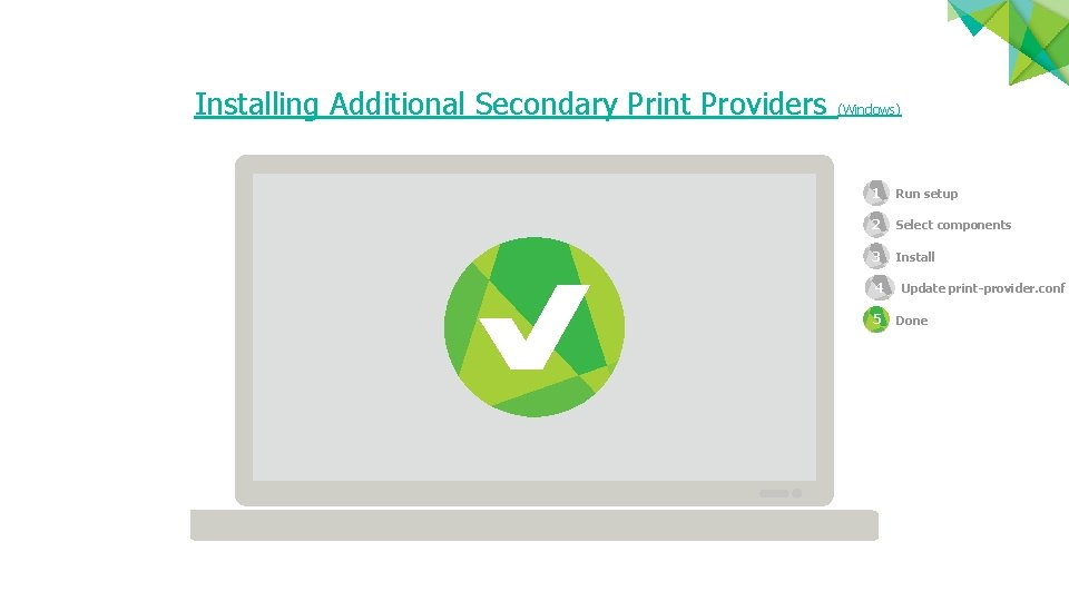 Installing Additional Secondary Print Providers (Windows) 1 Run setup 2 1 Select components 3