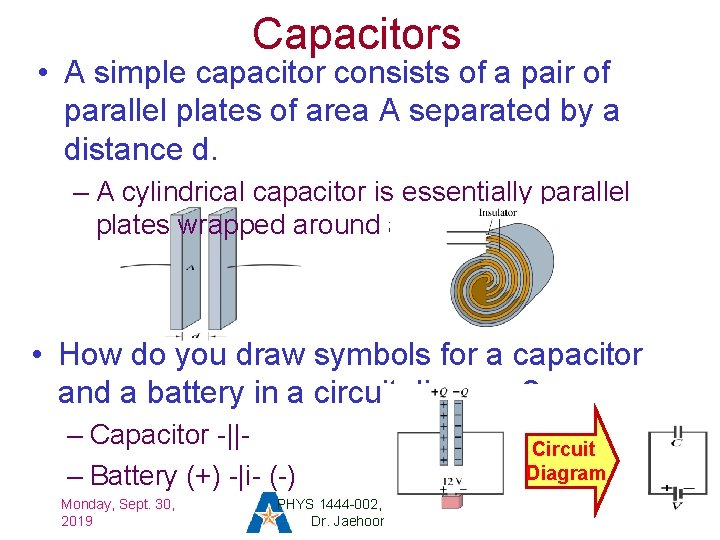 Capacitors • A simple capacitor consists of a pair of parallel plates of area