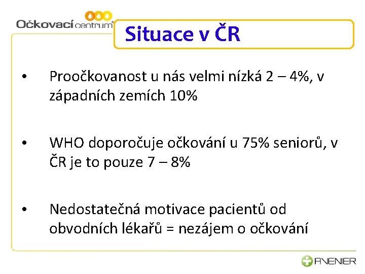 Situace v ČR • Proočkovanost u nás velmi nízká 2 – 4%, v západních