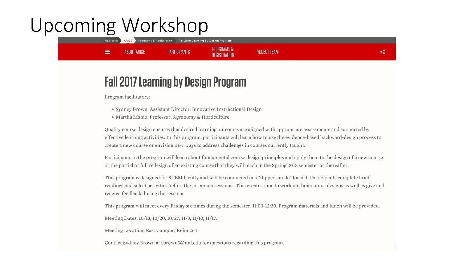 Upcoming Workshop