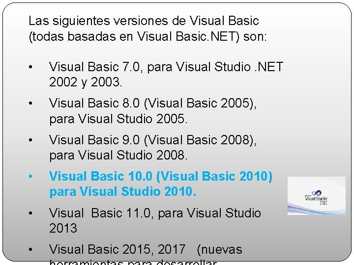 Las siguientes versiones de Visual Basic (todas basadas en Visual Basic. NET) son: •