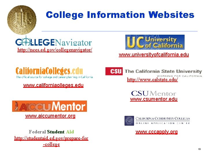 College Information Websites http: //nces. ed. gov/collegenavigator/ www. californiaolleges. edu www. universityofcalifornia. edu http: