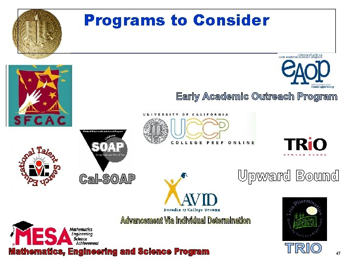 Programs to Consider 47