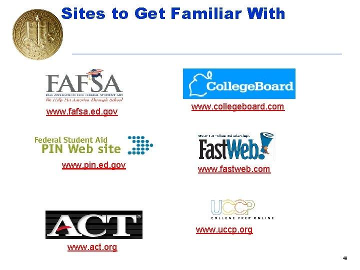 Sites to Get Familiar With www. fafsa. ed. gov www. pin. ed. gov www.