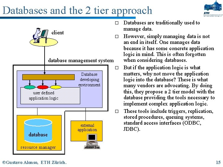 Databases and the 2 tier approach o client o database management system o Database