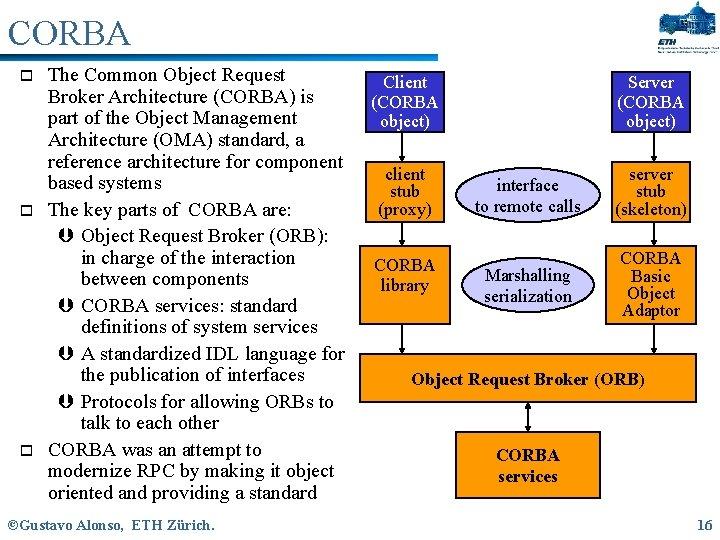 CORBA o o o The Common Object Request Broker Architecture (CORBA) is part of