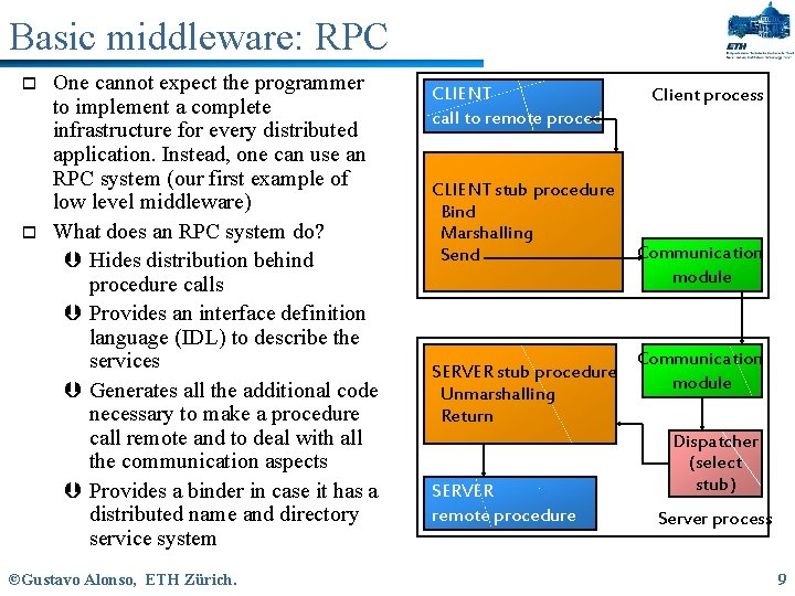 Basic middleware: RPC o o One cannot expect the programmer to implement a complete
