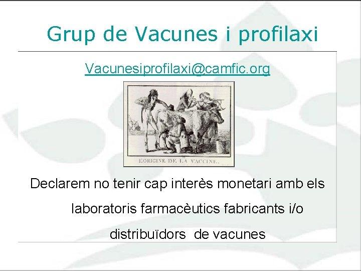 Grup de Vacunes i profilaxi Vacunesiprofilaxi@camfic. org Declarem no tenir cap interès monetari amb