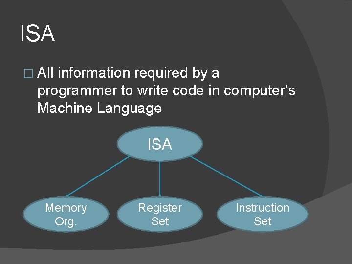 ISA � All information required by a programmer to write code in computer's Machine