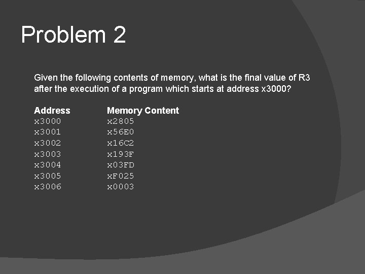 Problem 2 Given the following contents of memory, what is the final value of