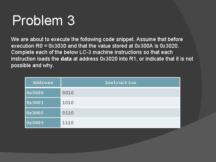 Problem 3 We are about to execute the following code snippet. Assume that before