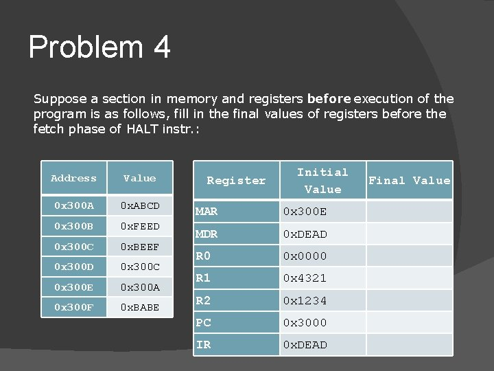 Problem 4 Suppose a section in memory and registers before execution of the program