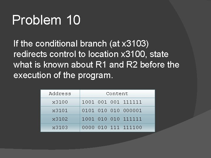 Problem 10 If the conditional branch (at x 3103) redirects control to location x