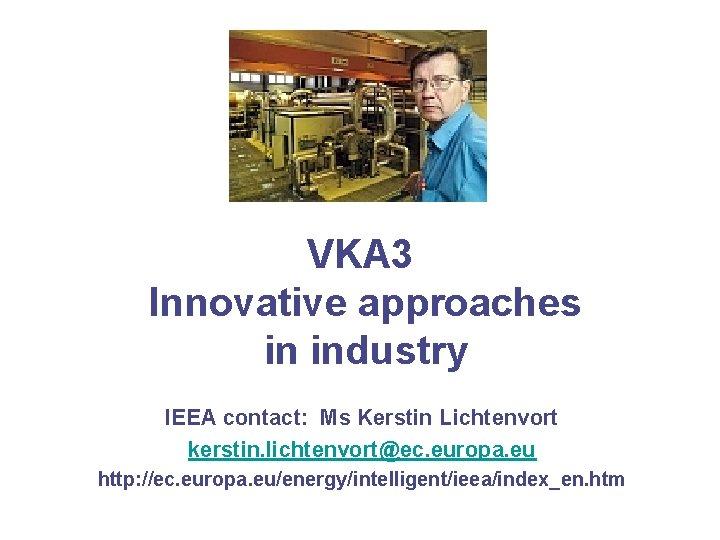 VKA 3 Innovative approaches in industry IEEA contact: Ms Kerstin Lichtenvort kerstin. lichtenvort@ec. europa.