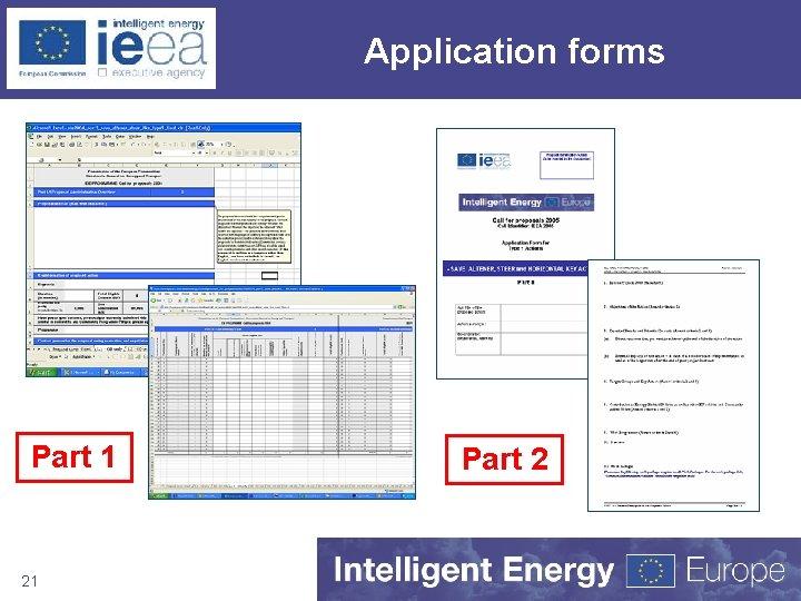 Application forms Part 1 21 Part 2