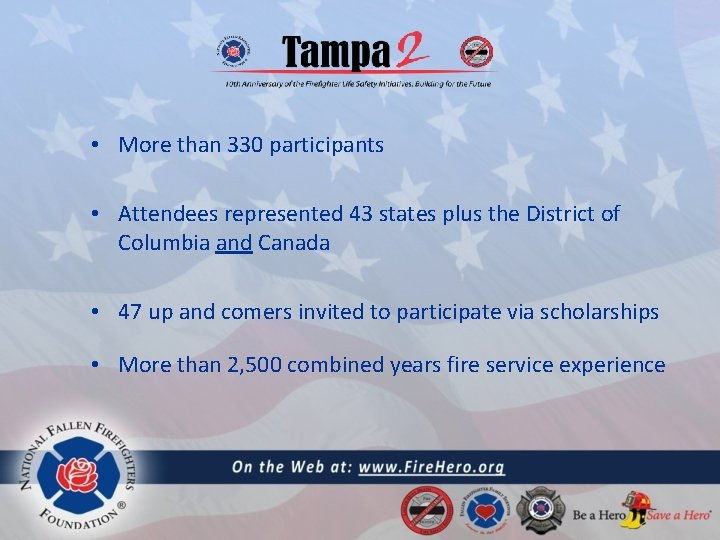 • More than 330 participants • Attendees represented 43 states plus the District