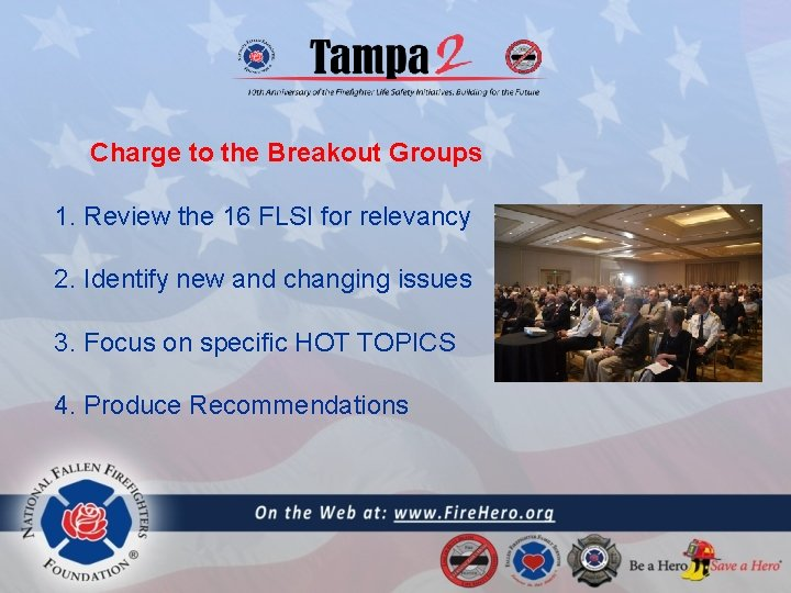Charge to the Breakout Groups 1. Review the 16 FLSI for relevancy 2. Identify