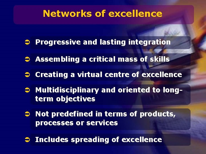 Networks of excellence Ü Progressive and lasting integration Ü Assembling a critical mass of
