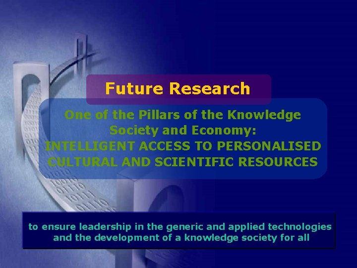 Future Research One of the Pillars of the Knowledge Society and Economy: INTELLIGENT ACCESS