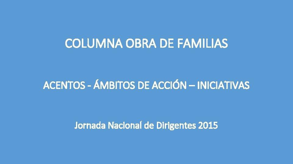 COLUMNA OBRA DE FAMILIAS ACENTOS - ÁMBITOS DE ACCIÓN – INICIATIVAS Jornada Nacional de