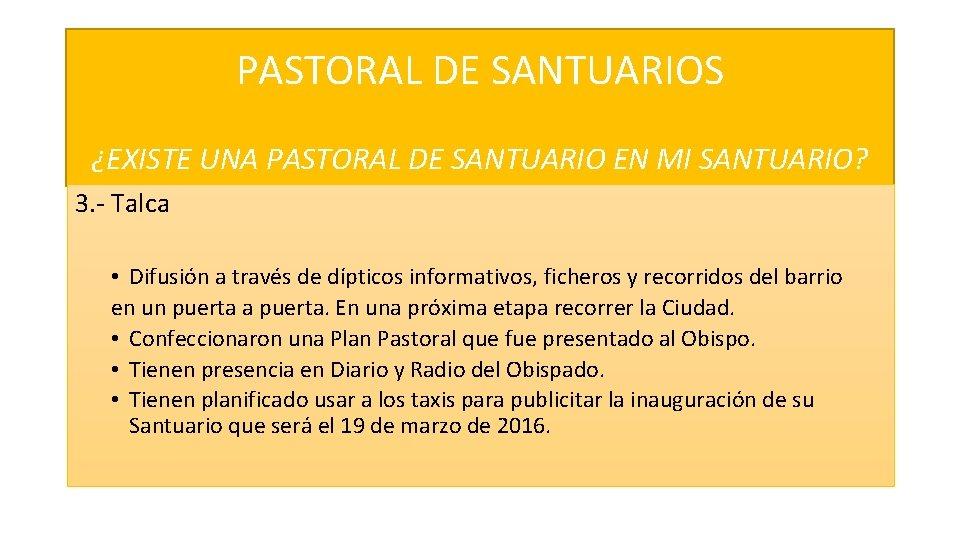 PASTORAL DE SANTUARIOS ¿EXISTE UNA PASTORAL DE SANTUARIO EN MI SANTUARIO? 3. - Talca