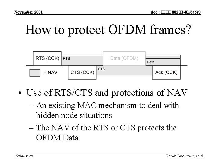 November 2001 doc. : IEEE 802. 11 -01/646 r 0 How to protect OFDM