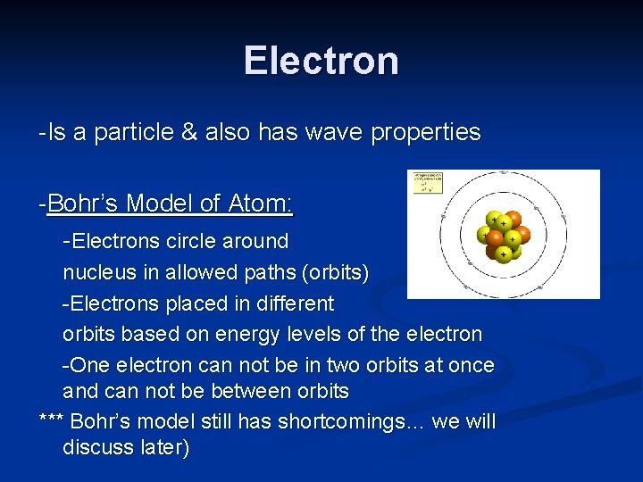 Electron -Is a particle & also has wave properties -Bohr's Model of Atom: -Electrons