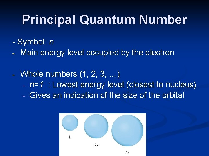 Principal Quantum Number - Symbol: n - Main energy level occupied by the electron