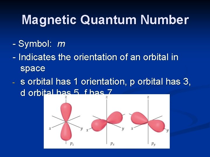 Magnetic Quantum Number - Symbol: m - Indicates the orientation of an orbital in